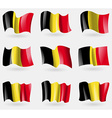 Set of Belgium flags in the air vector image vector image