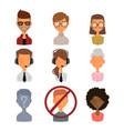 set people portrait face icons web avatars flat vector image vector image