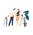 smiling man and woman standing in kitchen eating vector image vector image