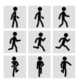walking and running people icons vector image vector image