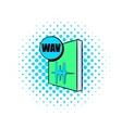 WAV file icon in comics style vector image vector image