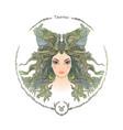zodiac sign portrait a woman taurus vector image vector image