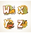 Alphabet set from W to Z vector image