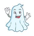 waving cute ghost character cartoon vector image