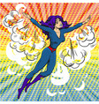 pop art comic superwoman character in clouds and vector image