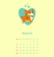 2018 march calendar with welsh corgi dog vector image vector image