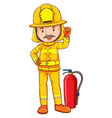 A coloured drawing of a fireman vector image vector image