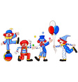 A sketch of a group of clowns vector image vector image