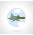 Aeroplane flat round icon vector image