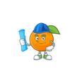 architect sweet orange cartoon mascot for juice vector image vector image