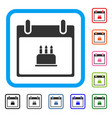 birthday cake calendar day framed icon vector image vector image