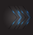 blue light 3d arrow direction on dark grey vector image vector image