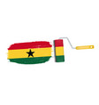 brush stroke with ghana national flag isolated on vector image vector image
