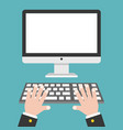 business hand with blank screen desktop computer vector image