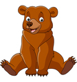 Cartoon happy bear sitting vector image vector image