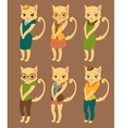 Cartoon set of cute cats in retro style clothes vector image