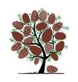 cedar cone background sketch for your design vector image