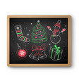 chalk drawn christmas set on blackboard vector image vector image