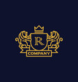 coat of arms letter r company vector image vector image