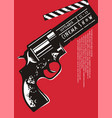 creative movie event poster with gun graphic vector image vector image