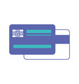 credit card both sides in blue and purple color vector image vector image