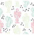 cute hand drawn cactuses and succulents pattern vector image vector image