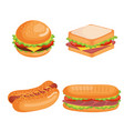 delicious fast food icons vector image vector image
