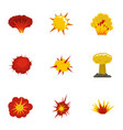 explosion destruction icons set flat style vector image vector image