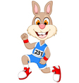 funny cartoon rabbit marathon athletes vector image vector image