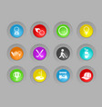 golf colored plastic round buttons icon set vector image
