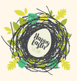 greeting card with easter egg in a birds nest vector image