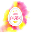 happy easter greeting paper egg with lettering vector image vector image