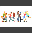 happy life moments family with kid dancing and vector image vector image