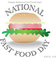 happy national fast food day sign and concept logo vector image vector image