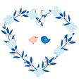 heart wreath with birds vector image vector image
