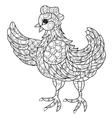 Hen Hand drawn decorative farm animal vector image vector image