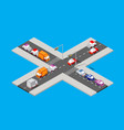 isometric traffic intersection vector image vector image