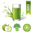 Juice in glass fruits and vegetables icons vector image vector image