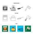 kitchen equipment flatoutlinemonochrome icons in vector image