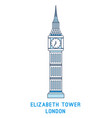 line art elizabeth tower big ben symbol of vector image