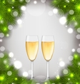 merry christmas background with glasses vector image