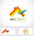 Orange real estate house logo vector image vector image