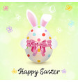 painted easter egg and easter bunny ears vector image