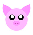 pink pig face isolated on white background vector image