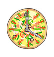 Pizza Pie Clock vector image vector image