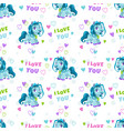 seamless pattern with cute cartoon blue pony and vector image vector image