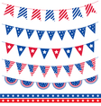 set different garland with flag ribbons america vector image vector image