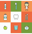 set of dental care element for tooth concept 01 vector image
