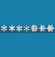 set of three-dimensional paper snowflakes vector image
