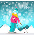 skier with mountins on backraund winter landscape vector image vector image